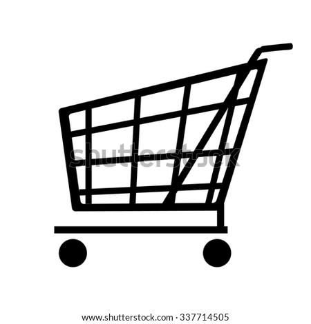 raster shopping cart icon. Side view empty supermarket shopping cart