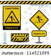 raster sign caution slippery ice warning collection - stock vector