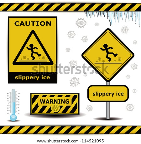 raster sign caution slippery ice warning collection - stock photo