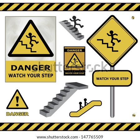 raster sign danger watch your step warning collection isolated
