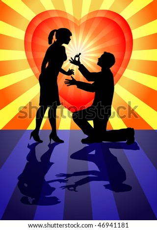 raster silhouette illustration depicting a marriage proposal - stock photo