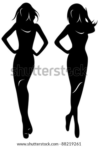 raster - silhouettes of beautiful women (vector version is available in my portfolio)