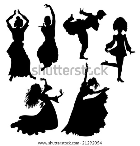 RASTER silhouettes of folk dancers