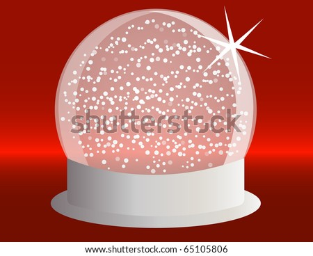 Raster Snowglobe on a Silver Base with Falling Snow - stock photo