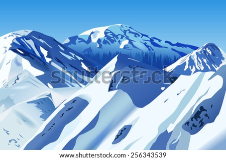 Raster Snowy Mountains - stock photo