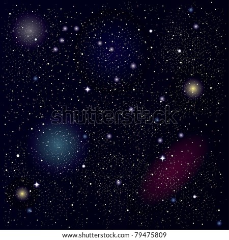 Raster space background. Beautiful starry sky with shining planets. Vector format is also accessible - stock photo