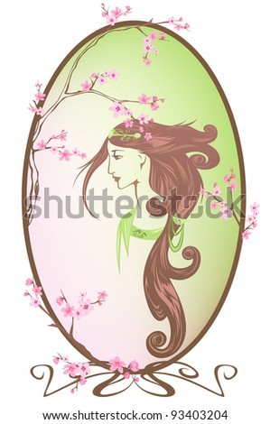 raster - spring girl portrait (vector version is available in my portfolio) - stock photo