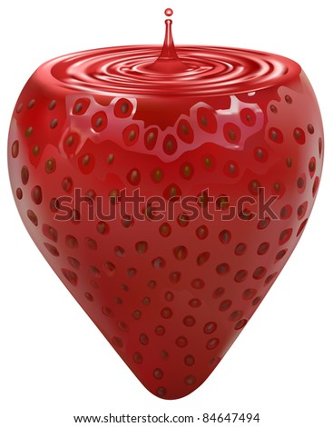 raster sweet strawberry with cream inside, vector version available - stock photo