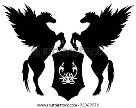raster - two rearing pegasus with shield illustration (vector version is available in my portfolio) - stock photo