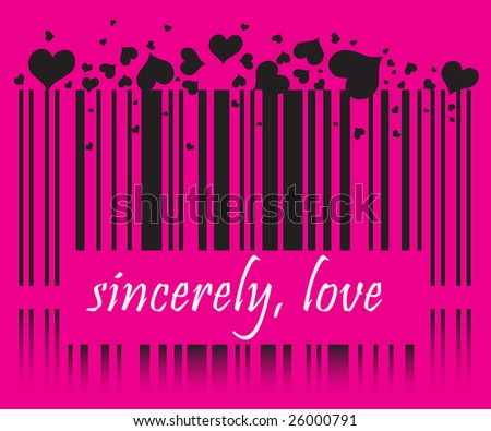 raster Valentine barcode with LOVE YOU and DATE tags - stock photo