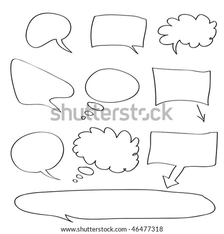 raster - Various types of white word bubbles for text insertion, all hand drawn - stock photo