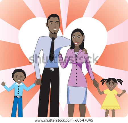 Raster version A beautiful African American family of 4 showing their love and happiness for each other. - stock photo