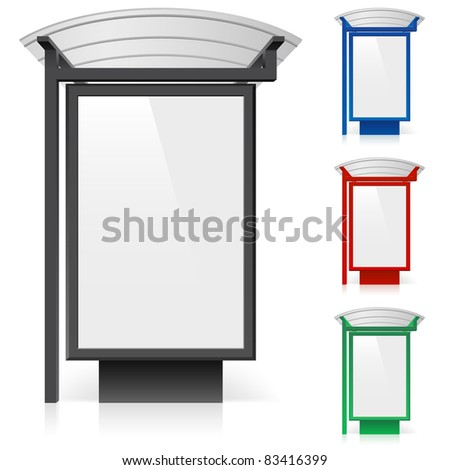 Raster version. A billboard at a bus stop in different colors. Illustration on white background