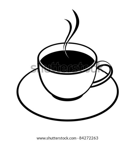 Raster version. A cup of coffee  illustration. Isolated on white background. - stock photo