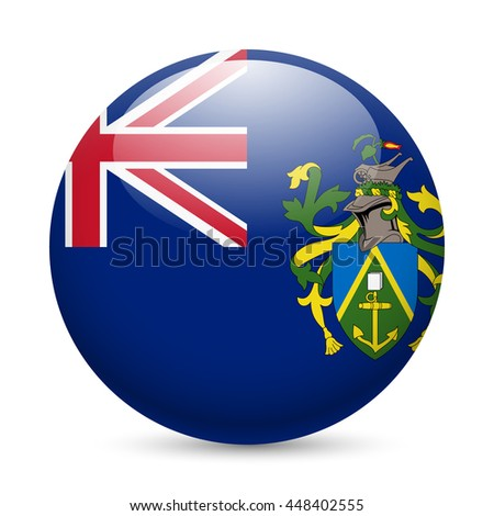 Raster version. A round badge in the colours of The Pitcairn islands flag. - stock photo