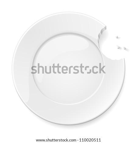 Raster version. Abstract bitten plate. Illustration for design on white background - stock photo