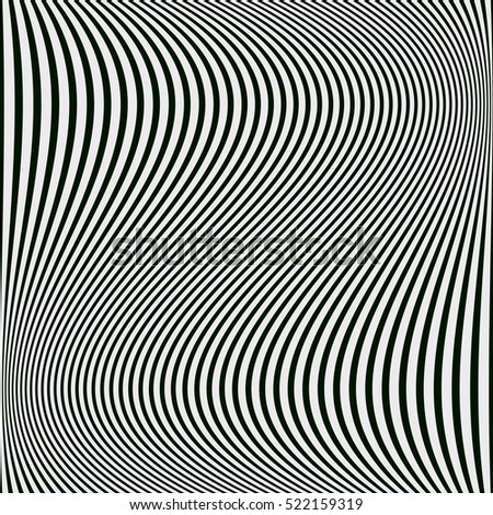 Raster version. Abstract black and white background of wavy lines