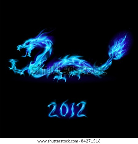 Raster version. Abstract blue fiery dragon. Illustration on black background for design - stock photo