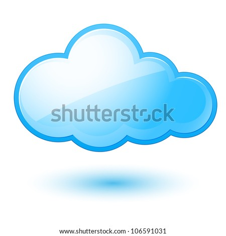 Raster version. Abstract cloud. Illustration on white background for design - stock photo