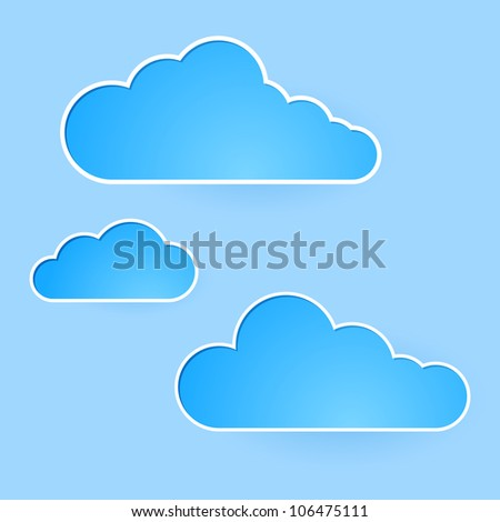 Raster version. Abstract clouds. Illustration on blue background for design
