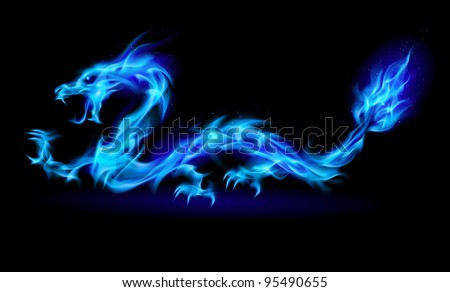 Raster version. Abstract Dragon. Illustration on black background for design - stock photo