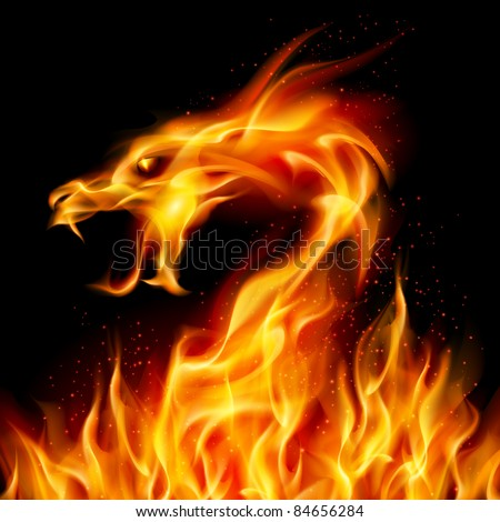 Raster version. Abstract fiery dragon. Illustration number two on black background for design