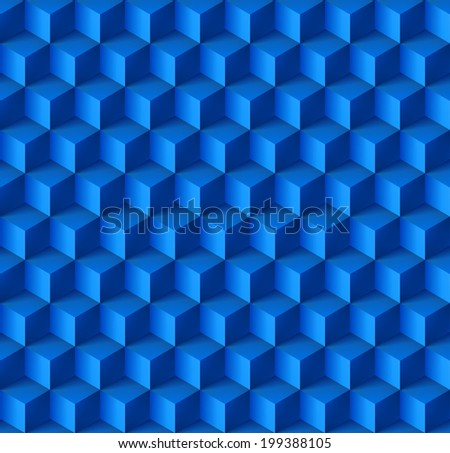 Raster version. Abstract geometric background with cubes in blue - stock photo