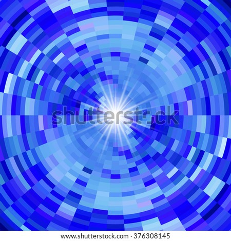 Raster version. Abstract mosaic background in blue colors and flash of light in centre - stock photo