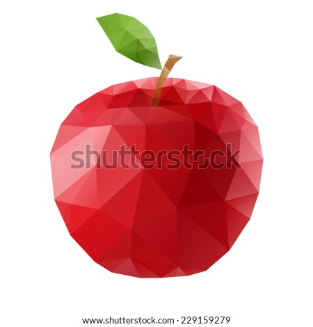 Raster version. Abstract red polygonal apple on white background  - stock photo