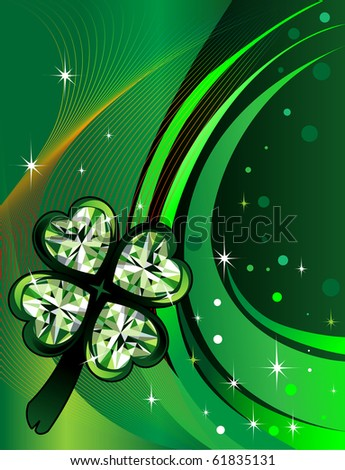 Raster version Abstract shamrock Diamond with background. St. Patrick's Day Background - stock photo