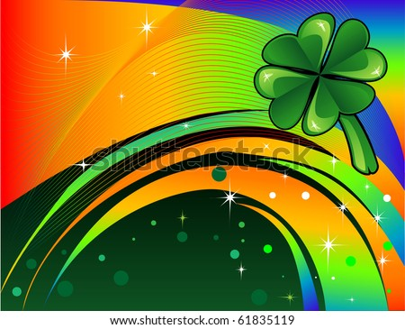 Raster version Abstract shamrock with rainbow colored background. St. Patrick's Day Background. - stock photo