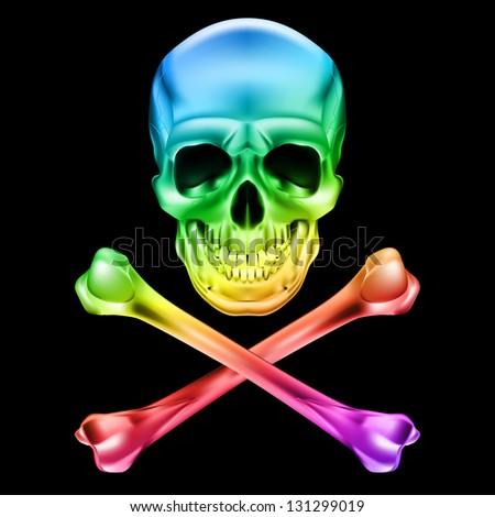 Raster version. Abstract Skull and crossbones. Illustration on black - stock photo