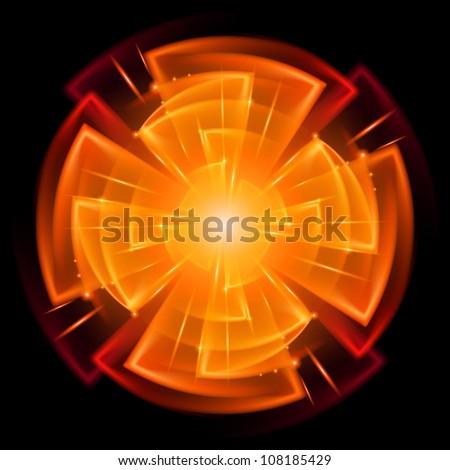 Raster version. Abstract Star Explosion. Illustration on black background for design - stock photo