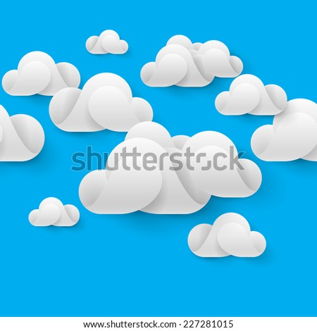 Raster version. Abstract white clouds made of curved elements on blue sky background. Cloud computing  - stock photo