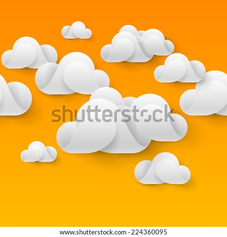 Raster version. Abstract white clouds made of curved elements on orange background. Cloud computing  - stock photo