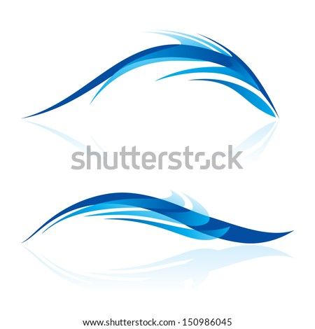 Raster version. Abstraction of two elements in blue shades on white. Smooth lines and curves look like sea animals in abstract design. - stock photo