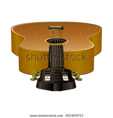 Raster version acoustic guitar perspective stamped forward, foreground and background, isolated object - stock photo