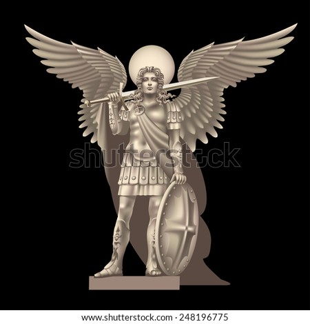 Raster version / Angel with a sword on a black background - stock photo