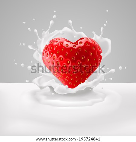 Raster version. Appetizing strawberry heart in milk splashes. Love for food - stock photo