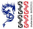 Raster version. Asian pattern tattoo. Dragon. Illustration on white background. - stock photo