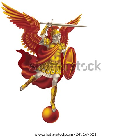 Raster version / Attacking colorful angel with a sword on a white background - stock photo