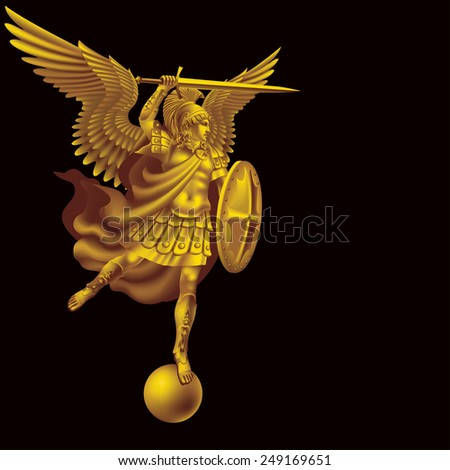 Raster version / Attacking golden angel with a sword on a black background - stock photo
