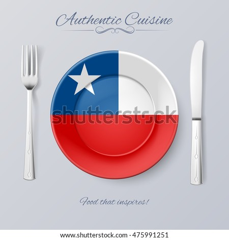 Raster version. Authentic Cuisine of Chile. Plate with Chilean Flag and Cutlery