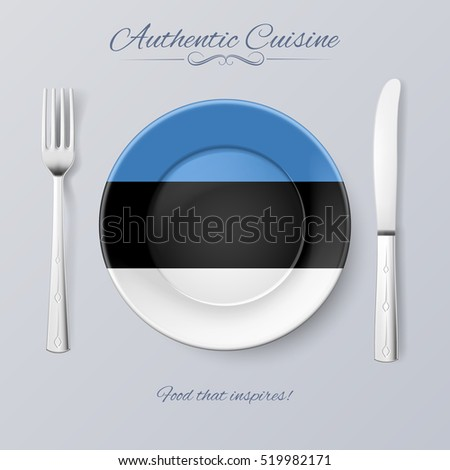 Raster version. Authentic Cuisine of Estonia. Plate with Estonian Flag and Cutlery