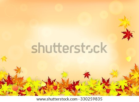 Raster version. Autumn Frame With Falling Leaves on color Background.  Illustration. - stock photo