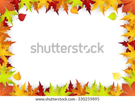 Raster version. Autumn Frame With Falling Leaves on White Background. Elegant Design with Text Space . Illustration. - stock photo