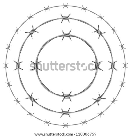 Raster version. Barbed Wire Circles. Illustration on white background - stock photo
