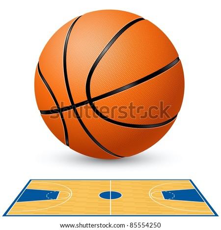 Raster version. Basketball and basketball court floor plan. Illustration on white background. - stock photo