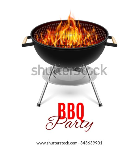 Raster version. BBQ party banner grill with fire isolated on white