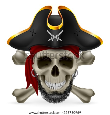 Raster version. Bearded pirate skull in red bandana and cocked hat with crossed bones  - stock photo